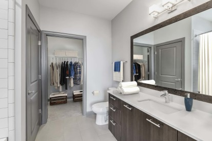 Bathroom with undermount sink, large framed mirror, and walk-in closet