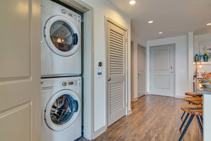 Stackable full-size washer and dryer included in apartment homes