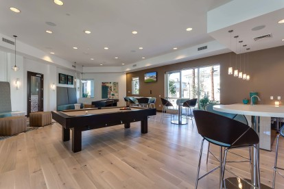 Resident lounge with billiards and shuffleboard and dining and seating areas