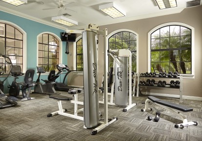 24 hour fitness center with strength training equipment