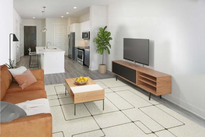 Open- Concept Living room with wood-style flooring