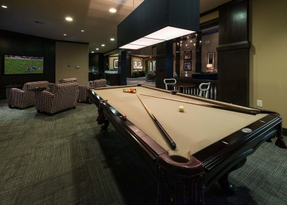 Gaming lounge with billiards wifi and flat screen tv