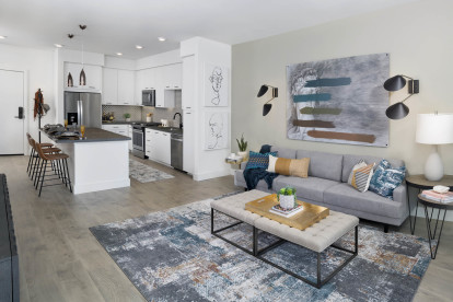 Open-concept living and dining area
