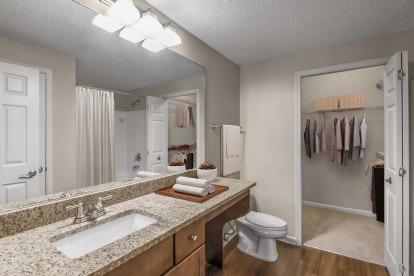 Bathroom with granite countertops and hardwood-style flooring with walk-in closet