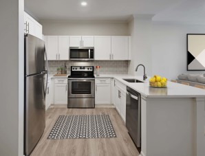 Kitchen with modern finishes and quartz countertops
