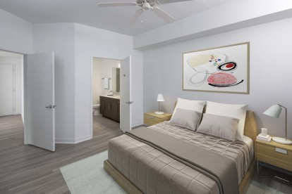 Main bedroom with ceiling fan and ensuite