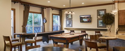 Resident lounge with billiards and shuffleboard
