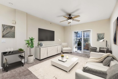Traditional style open concept living area with patio and space for home office