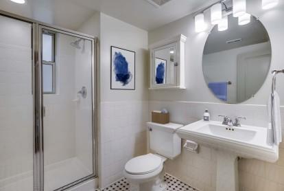Bathroom with glass door