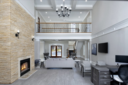 Leasing office with fireplace