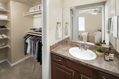 Bathroom and walk in closet with wood shelving