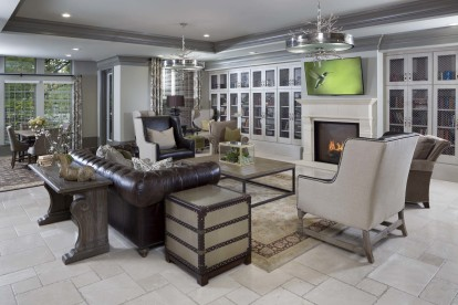 Resident lounge at the towers with tv and fireplace