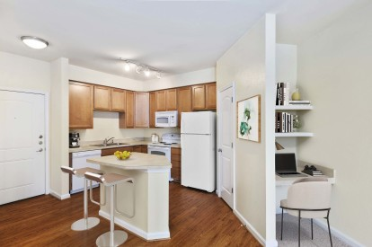 Open kitchen built in desk