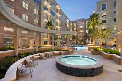 Pool and spa at dusk
