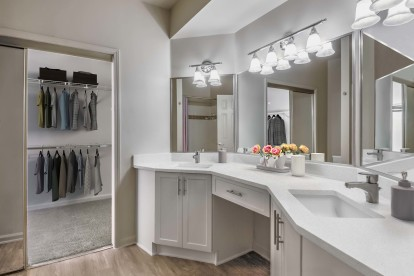 Modern style bathroom with double vanity sinks and walk in closet