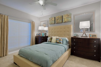 Traditional style bedroom with carpet and ceiling fan