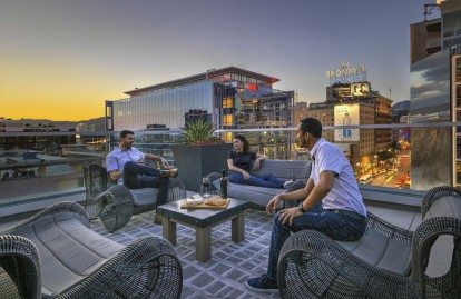 Rooftop lounge overlooking hollywood