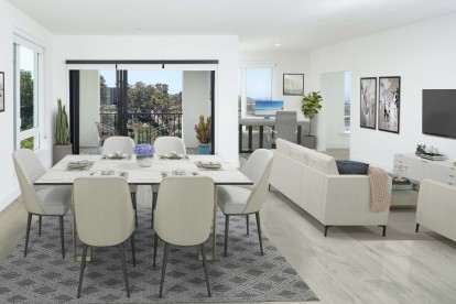 Open concept dining, living, and flex space for a home office