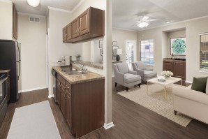 Kitchen living room with wood style floors