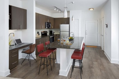Uba tuba finishes kitchen with espresso cabinets and stainless steel appliances