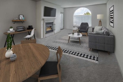 With space to work from home and fireplace