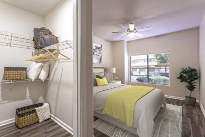 One bedroom main bedroom walk in closet and linen cupboards