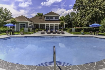 Pool with outdoor dining and seating