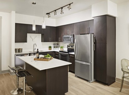 Modern style kitchen with island glass cooktop and undermount sink