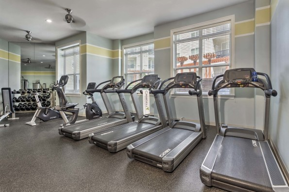 Large fitness center cardio and weight equipment