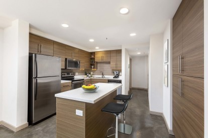 Live work kitchen island with stainless steel appliances