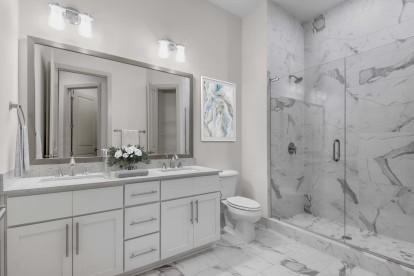 Bathroom dual vanity white design scope