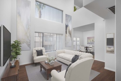 Double height ceiling loft open living dining