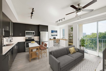 Open concept floor plan with living kitchen and work from home space