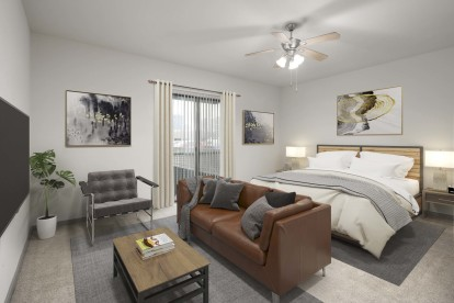 Studio floor plan bedroom and living with ceiling fan and carpet flooring