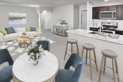 Contemporay style open concept living kitchen dining