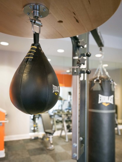 24 hour fitness center with boxing equipment