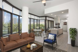 Apartments warm modern finishes with open concept floor plan