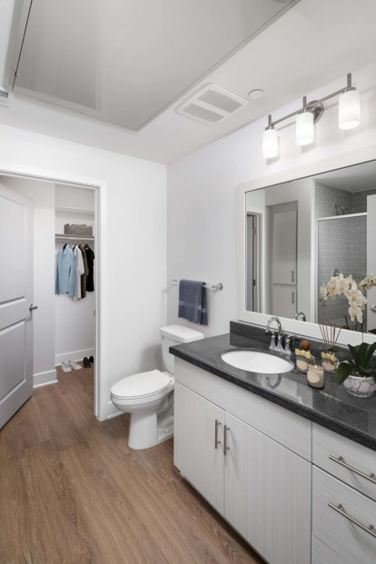 Bathroom with granite countertops stand up shower and walk in closet