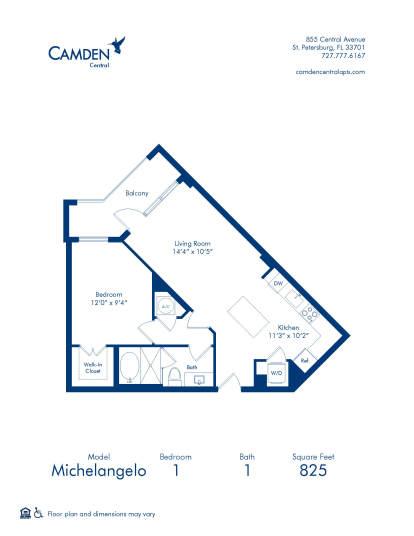 Michelangelo Floor Plan at Camden Central - One Bedroom Apartment Home