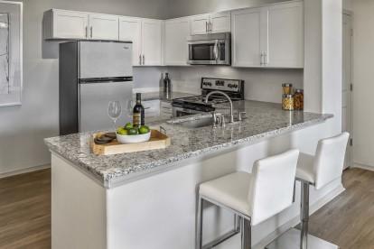 Breakfast bar with quartz countertops