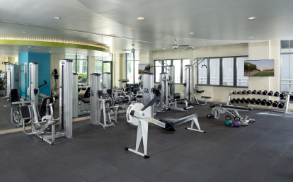 24-Hour Fitness Center with Free Weights and Row Machine