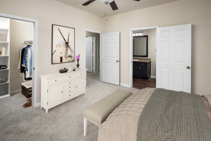 Vista style bedroom with walk in closet ensuite bath and ceiling fan