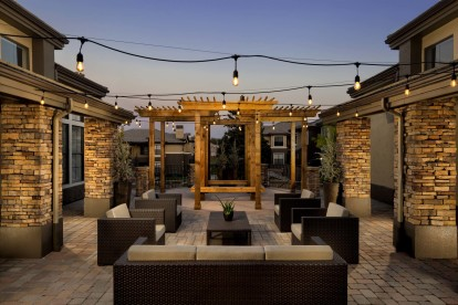 With outdoor lounge space