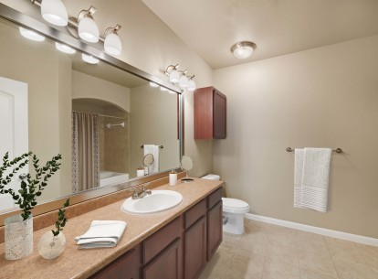 Bathroom with large tub and counter space