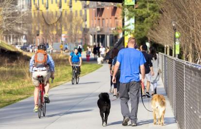 Walking and biking on the atlanta beltline
