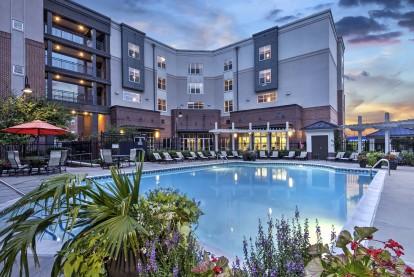 Resort style pool sunset