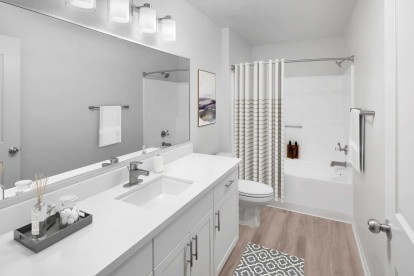 Bathroom with white quartz countertop and brushed nickel fixtures