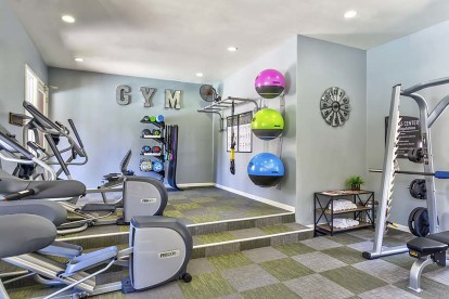 Fitness center cardio free weights
