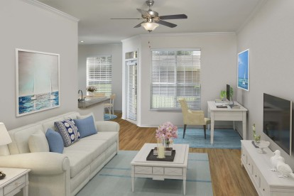 Living room with ceiling fan and home office space