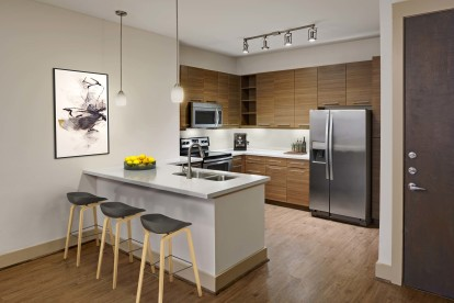 Two bedroom kitchen with white quartz countertops and stainless steel appliances